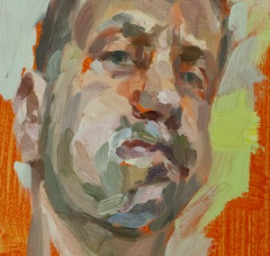 'Self-portrait, puffed cheeks', oil on board, 10inches x 8.5inches